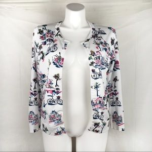 Charter Club white cardigan bicycle/floral pattern